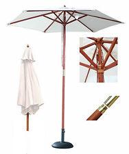 2m Cream Garden Parasol Sun Shade Wooden Outdoor Umbrella