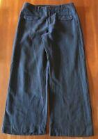 gorman Navy Blue Linen Wool Blend Straight Cut Wide Leg Winter Pants L 14 16