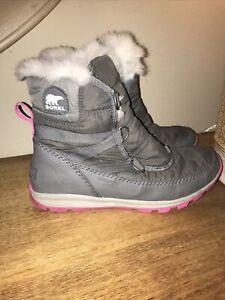 SZ 5 SOREL Kids' Whitney Pink Boots WILL FIT A WOMENS Size 7 Waterproof