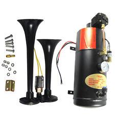 Black Loud 2 Trumpet w/ 120 PSI Air Compressor Complete System Train Horn Kit