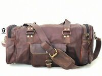 "20"" Cow Leather Duffle Travel Bag Overnight Weekend Holdall Carryon Luggage Bag"