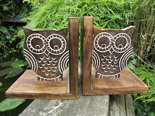 Fair Trade Hand Made Carved Wooden Owl Book Ends Bookends Holder Display Stand