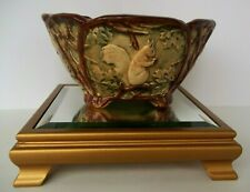 """Amazing 1920's Weller Pottery Woodcraft 6.5"""" Wide Nut Bowl Squirrel Brown Green"""