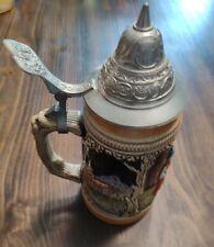 Vintage Beer Stein Jagers Abschied Western Germany Metal Open & Close Lid