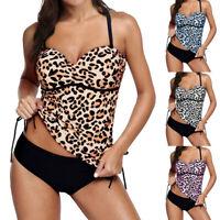 Womens Two Piece Tankini Bikini Sets Halterneck Swimsuit Bathing Suit Swimwear