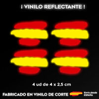 4 X VINILO PEGATINA BANDERA DE ESPAÑA REFLECTANTE COCHES MOTOS CASCO STICKER CAR