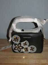Michael Kors Flowers Medium Smooth Leather Camera Bag Black Gold $198 NWT