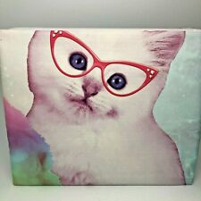 Photo Real Kitty Cat With Glasses Full Sheet Set 4 Piece New Ships Free Purple