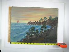 Art Frank Florida Original Art Acrylic Painting Manatee Ocean Beach Fish Seaside
