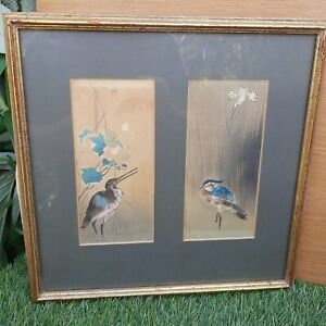 Pair Chinese / Japanese (?) Pen & Watercolour Wading Birds - Framed & Mounted