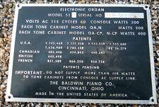 Vintage Baldwin Organ Name Plate Logo Tag.