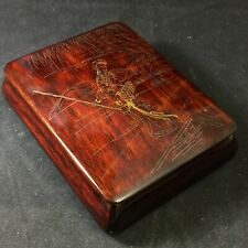 Fine Vintage Chinese / Japanese Gold Silver Wire Inlaid Wood Box Huanghuali Rare