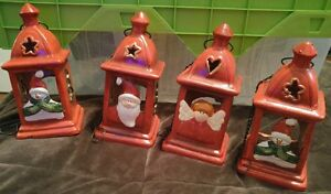 4 hanging tealight candle red lanten christmas holiday santa snowman angel (r)