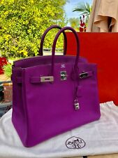 Auth Pre-owned HERMES Birkin 35cm Bag Purple Anemone Togo PHW (MINT condition)