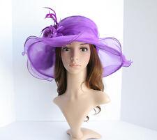 NEW Church Derby Wedding Organza w Two Flowers Dress hat Purple VF7021