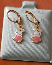 14K Gold Filled PINK Peppa Pig hanging Earrings / Teenager Children / Jewelry US