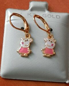 14K Gold Filled PINK Peppa Pig hanging Earrings / Teenager Girl  / Jewelry