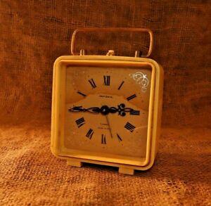 """Vintage Alarm Clock """"LANTAZ"""" Made in USSR Vintage Soviet Mechanical 4 JEWELS #83"""