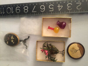 DOLLHOUSE antique/vintage miniatures: hand blown glass, two OOAK table MORE