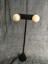 Vintage Miriam Haskell signed clip on earrings Faux Pearl Look