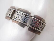 LOVELY VICTORIA CONY MEXICAN STERLING SILVER MAYAN DESIGN LINK BRACELET