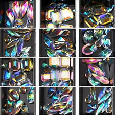 ITS- 12 Box 3D Nail Art Colorful Clear Crystal Mixed Size Nails Tips Decals Deco