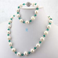 "19.5/8"" 10-12mm White Freshwater Pearl Necklace Bracelet Dark Green Crystal Set"