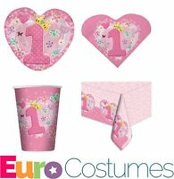 Pink 1st Birthday Disposable Party Tableware Plates Cups Napkins Tablecover Girl