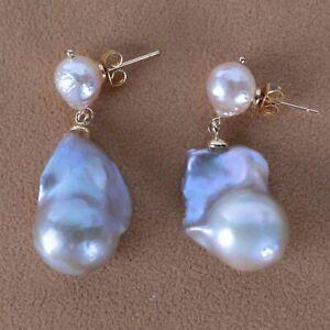 10-20MM Natural pink baroque pearl Earring 18k Ear Drop Dangle Fashion Jewelry