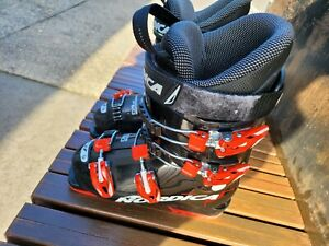 """Nordica Doberman GP 60 Kids ski Race boots. Size 22.5. Condition is """"Pre-owned""""."""