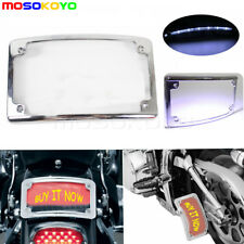 Motorcycle Curved LED License Plate Frame Chrome Rear Bling Tag Cover NEW