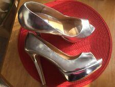 "Next Nwot Size 5 Silvery Gold 5"" Heels 1"" Platform Peep Toe Gorgeous"