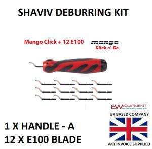 Deburring Set Mango Click Shaviv Handle E & 12 X E100 Blades #29229