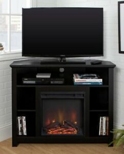 "Walker Edison Highboy 44"" Wood Corner Highboy Fireplace TV Stand Black"