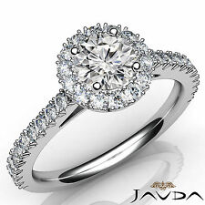 Round Diamond Engagement French Cut Pave Ring Gia F Vvs2 18k White Gold 1.71Ct