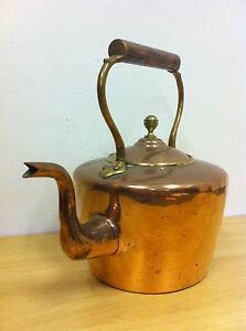 Antique Victorian Large Copper & Brass Kitchen Kettle Pot Fireplace Stove TA099