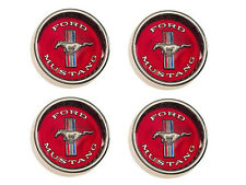Mustang Styled Steel Wheel Rim RED Centre Cap Caps SET 4 1964 1965 1966 64 65 66