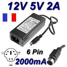 Adaptateur secteur alimentation AC DC 220V 12V 5V 2A 2000mA 6 Pin Disque Dur HDD