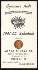 """1951-52 Syracuse Nationals (""""Nats"""") original schedule - Near Mint condition RARE"""