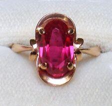 Russian Russia Soviet USSR 14K 583 rose pink gold Ruby RING 14kt  4.5 grams