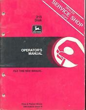John Deere 215 Disk DEALER SERVICE SHOP COPY Operators Manual OM-A38035