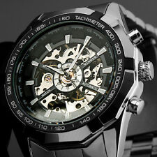 Smart Men's Automatic Mechanical Skeleton Analogue Fat Steel Band Wrist Watch TW