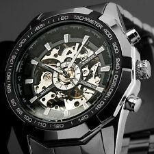Reloj de pulsera esqueleto Mecánico Automático para Hombre Grasa Analógico Banda de Acero TW