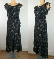 NEW Ex Evans Floral Print Maxi Dress BLACK Summer Holiday Dress Size 14 - 26