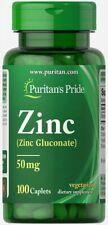 Puritan's Pride Zinc 50 mg - 100 Caplets (free same day shipping)