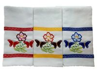 """White Jacquard Kitchen Towel embroidered motif.Large-2pc set Top Quality 18""""x26"""""""