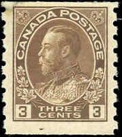 1918 Mint H Canada 3c F+ Scott #129 Admiral KGV Coil Stamp