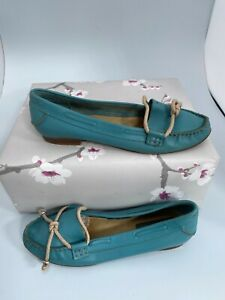Bertie, Teal Blue, Slip On, Leather Ballet Shoes, Approx. Size UK-6 #KW
