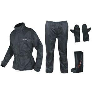 Waterproof Motorcycle Motorbike 4 pc Rain Suit Jacket Trousers Gloves Boots
