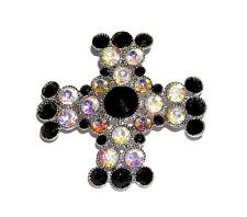 BROOCH/PIN/PENDANT Black & AB Iridescent Rhinestones DAZZLING CELTIC CROSS